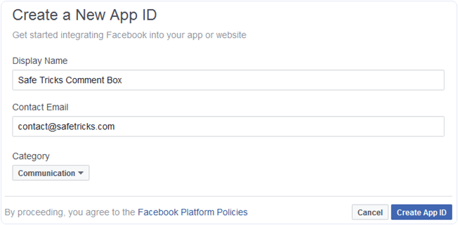 Facebook fill new app details