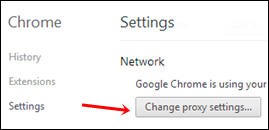 chrome change proxy settings