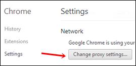 chrome change proxy settings