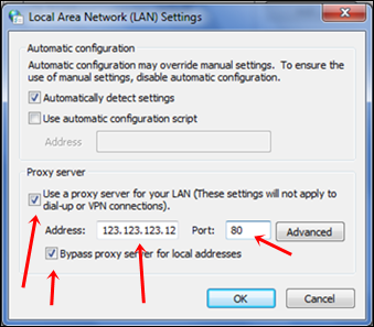 LAN add proxy settings
