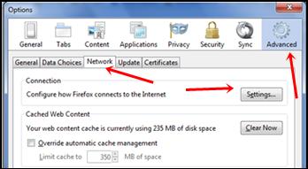 firefox network settings