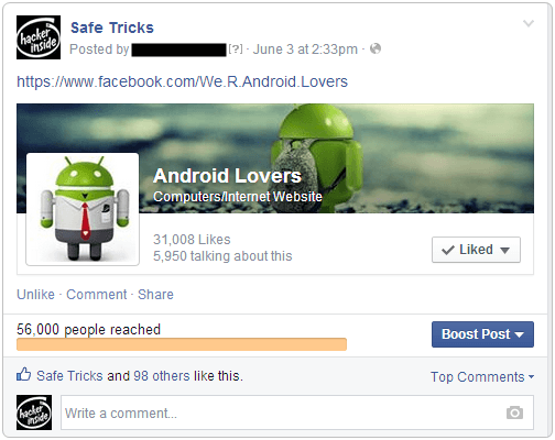 facebook page sharing