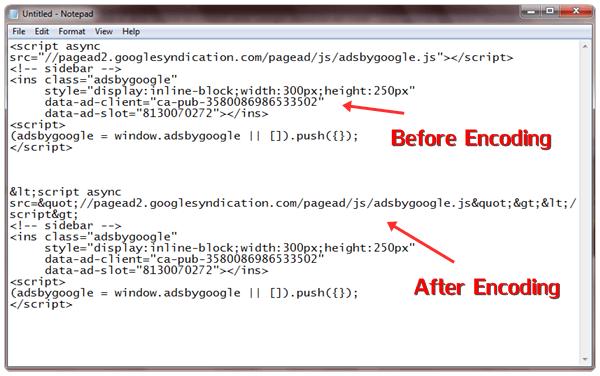 encode asynchronous adsense code