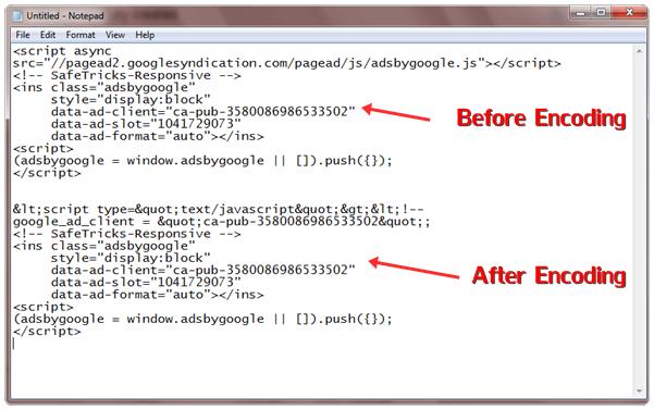 encode responsive adsense code