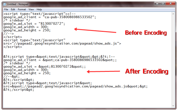 encode synchronous adsense code
