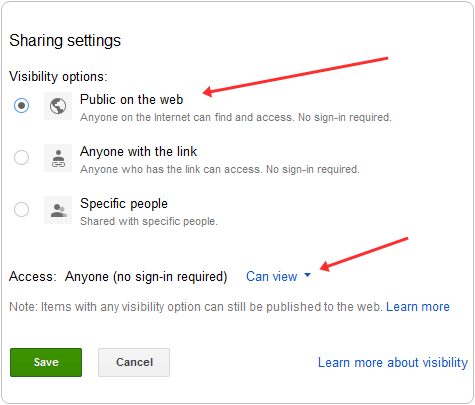 google drive change file to public