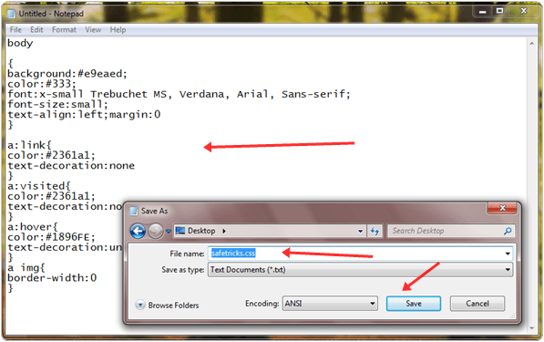 save css in notepad
