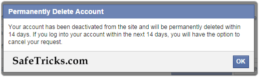 facebook account permanently deleted message
