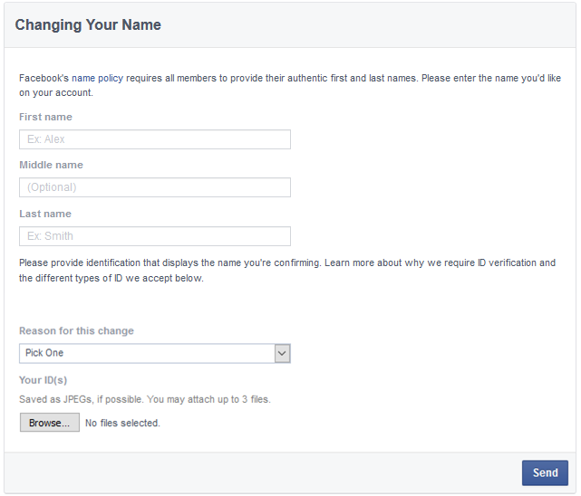 change facebook profile name request form