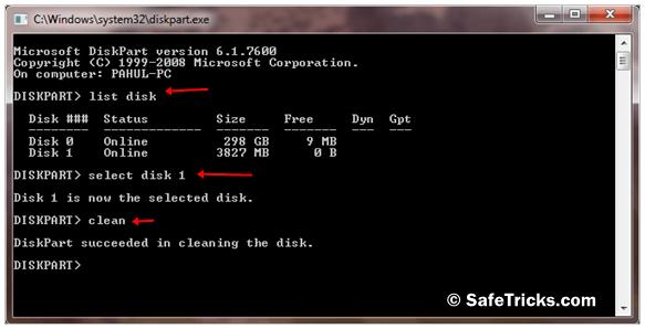 diskpart usb format