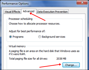 windows performance option for virtual ram