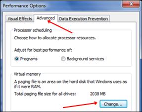 windows performance option for virtual ram