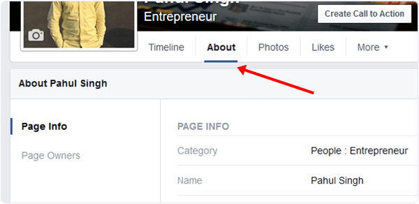 facebook page about settings