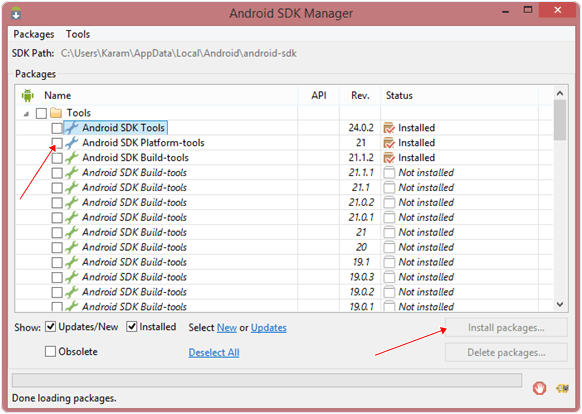 Android sdk tools manage
