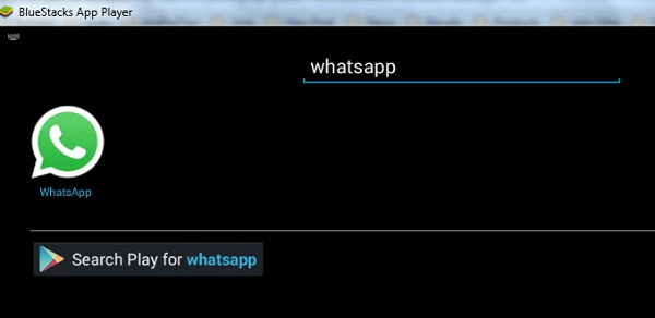 Search whatsapp on bluestacks