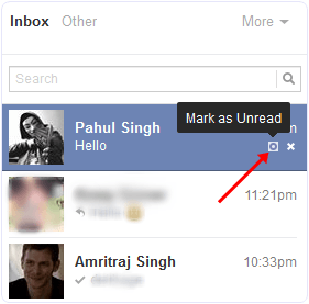 mark as unread facebook message option
