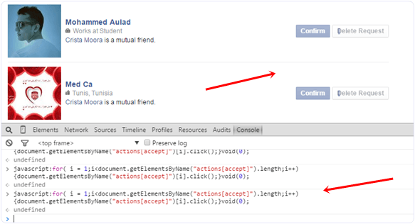 Accept or confirm all facebook friend request script run