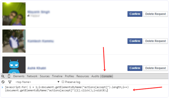 Accept or confirm all facebook friend request script