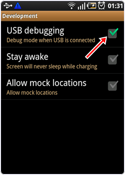 android usb debugging option