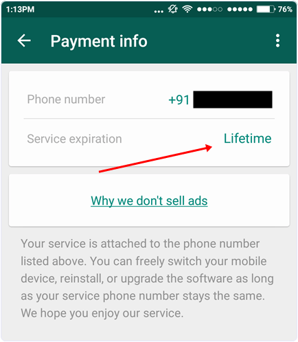Check whatsapp service lifetime period