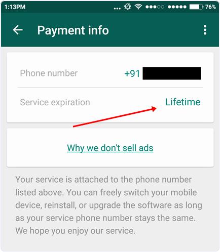 Check whatsapp service lifetime period