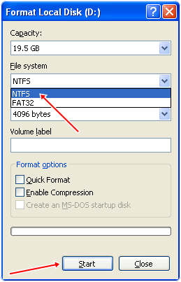change ntfs fat32 settings in drive format properties
