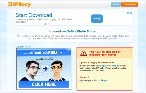 iPiccy.com online photo editing website