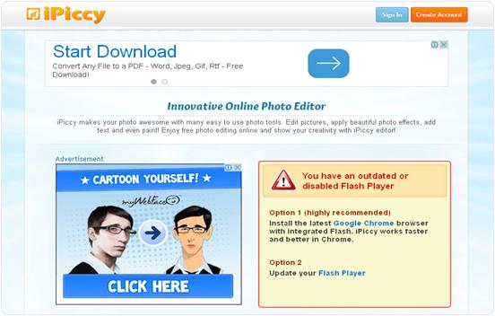 iPiccy.com online photo editing website