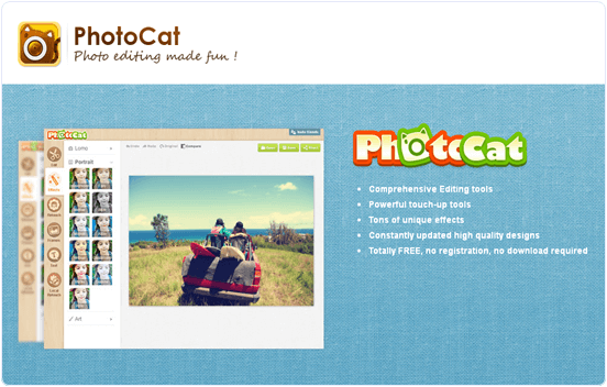 Photocat.com online photo editing website