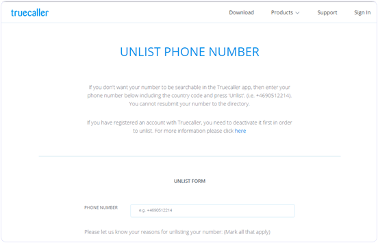 true caller unlisted mobile phone number