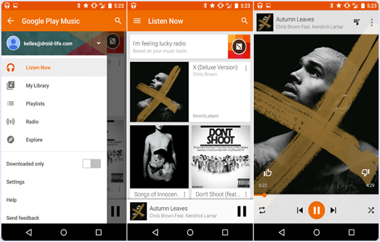 Google Play Music android music player