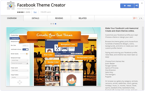 Facebook theme creator chrome extension