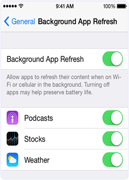 Background app refresh for iPhone Battery life