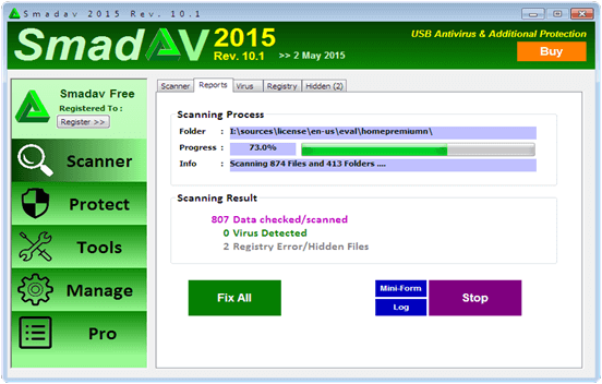 sandev antivirus processing hidden files
