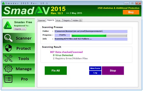 sandev antivirus processing hidden files