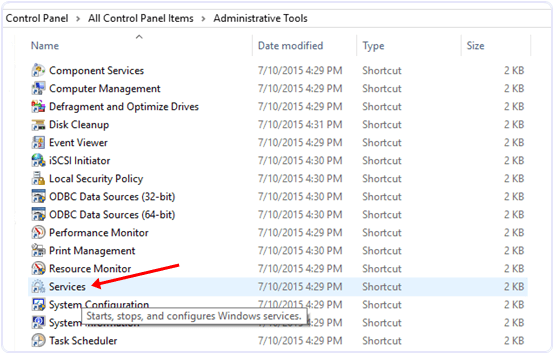Stop Windows 10 updates control panel adminstrative tools services