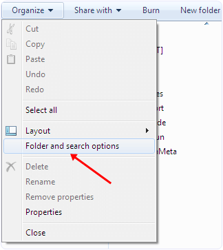 windows folder and search options