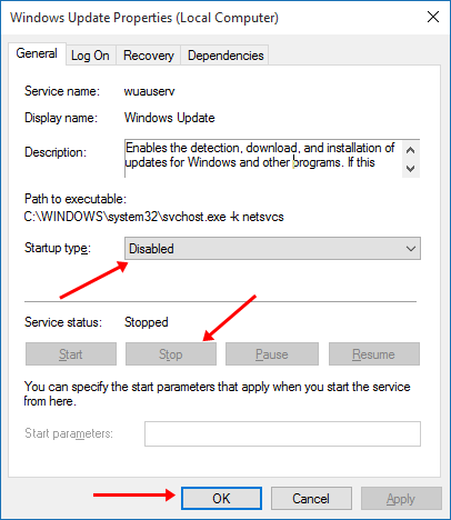 disable windows 10 updates properties settings