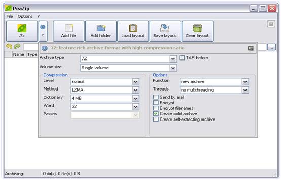 PeaZIP file compressing software