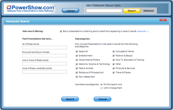 Powershow.com find ppts