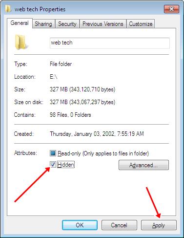 Windows hidden file folder option