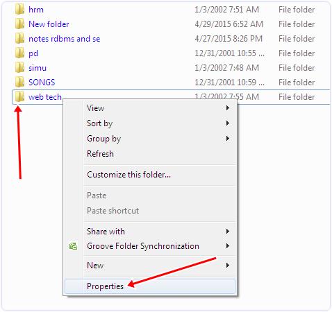 Windows files folder properties option