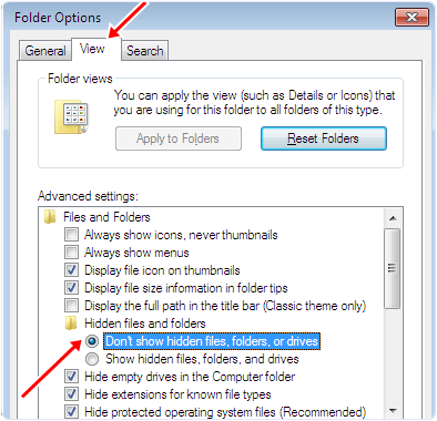 windows folder option