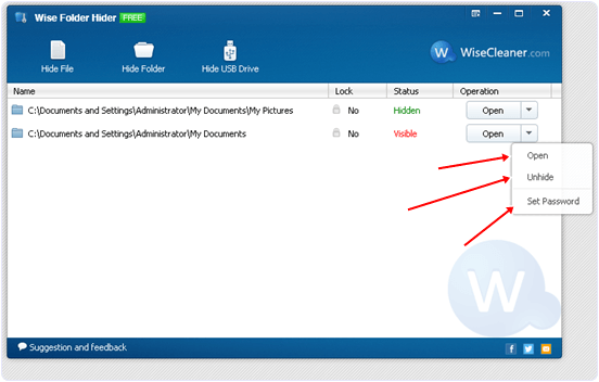 Windows Wise folder hider options