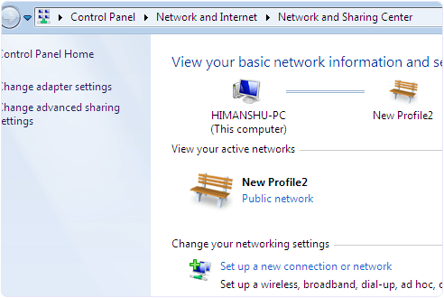 Windows network and sharing settings for wifi connection