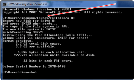 command prompt cmd format fat32