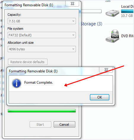 pendrive format windows