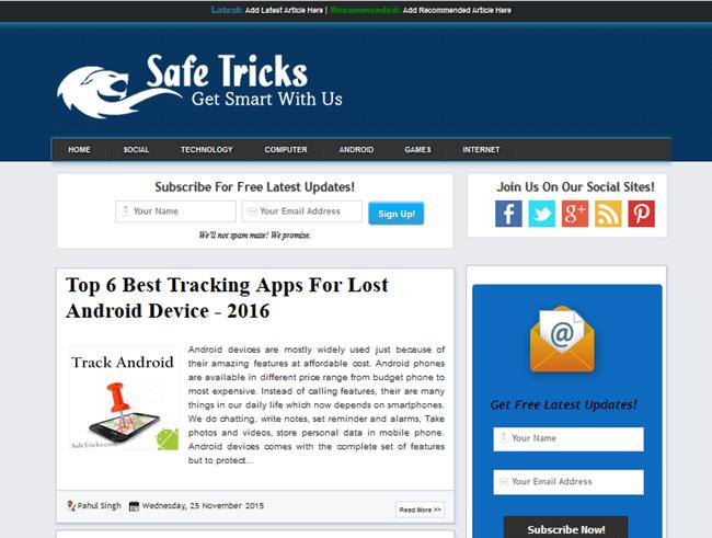 Safetricks template demo