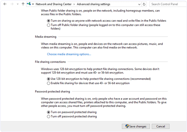 Windows network sharing advances settings