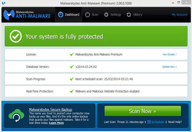 malwarebyte antivirus pc interface